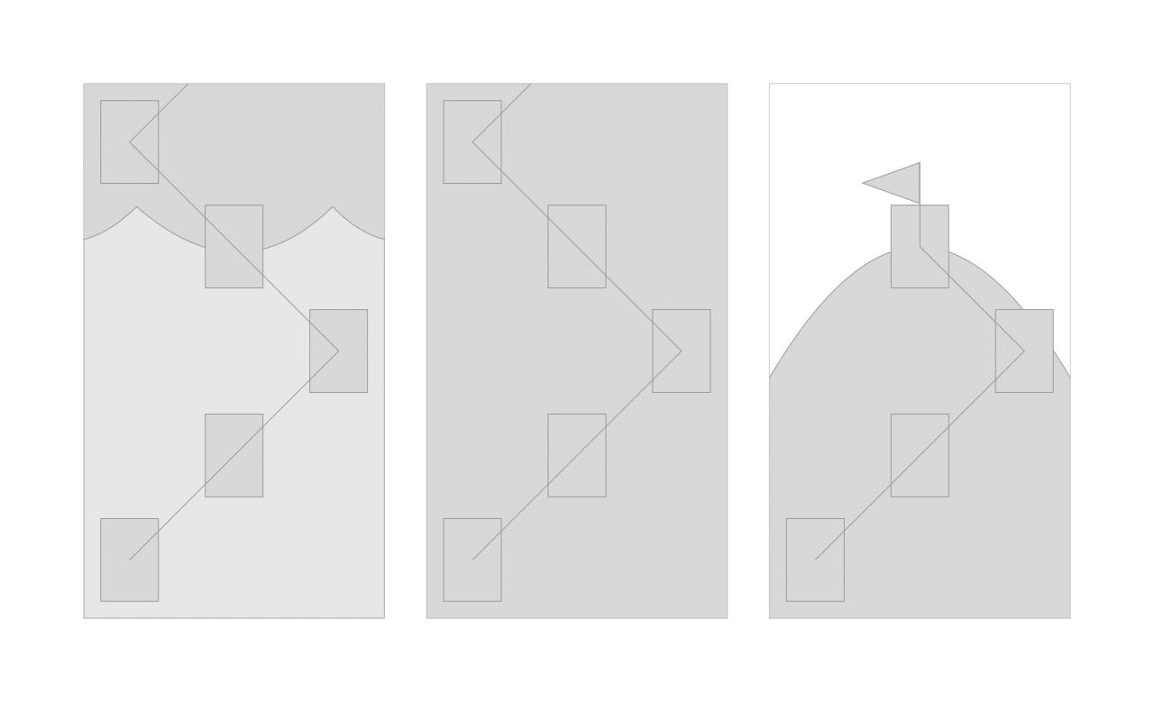 Návrh scény pro žebříček ve formě wireframu.