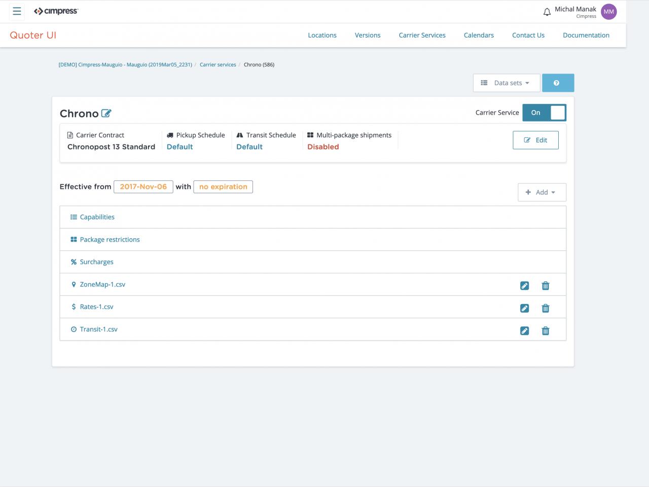 Jak vypadá stránka pro konfiguraci dopravce ve zmíněné aplikaci.